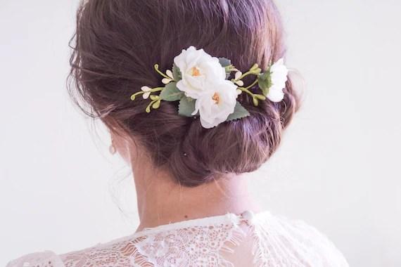 Wedding Hair Clip Bridal Headpiece White Flower Hair Clip