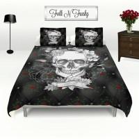 Skull Bedding, Duvet COVER set , Faux Black Quilted Satin