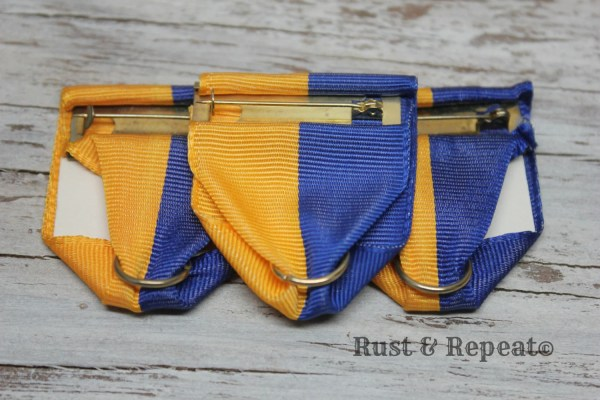 Blue And Gold Medal Ribbon - Vintage Steampunk Cosplay