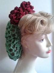 1940's hair snood green with wine