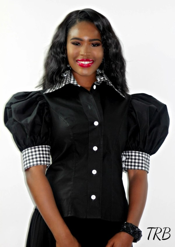 Puffy Sleeve Button Blouse