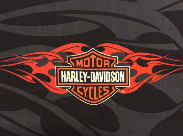 Harley Davidson Motorcycles Logo Fabric Panel With Orange
