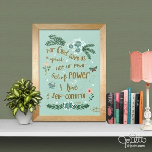 2 Timothy 1:7 Scripture art by JoDitt Designs