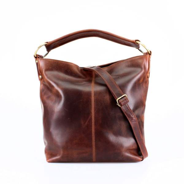 Distressed Brown Leather Handbag Hobo Tote Theleatherstore