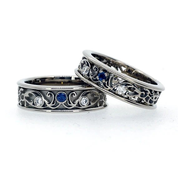 Items Similar To Filigree Wedding Band Set With Blue