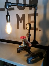 Steampunk Pipe Lamp with Red Faucet Switch Pressure Gauge and