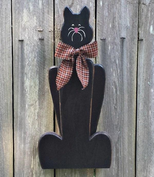 Halloween Black Cat Primitive Folk Art Fall
