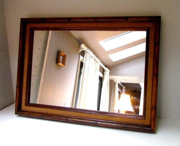Bamboo Mirror Wooden Rectangular Tall