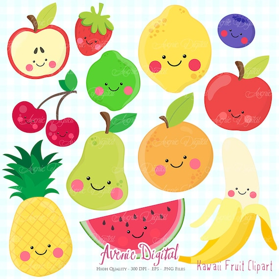 kawaii fruit clipart. scrapbook