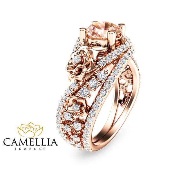 Unique Rose Gold Morganite Engagement Ring 14K Rose Gold