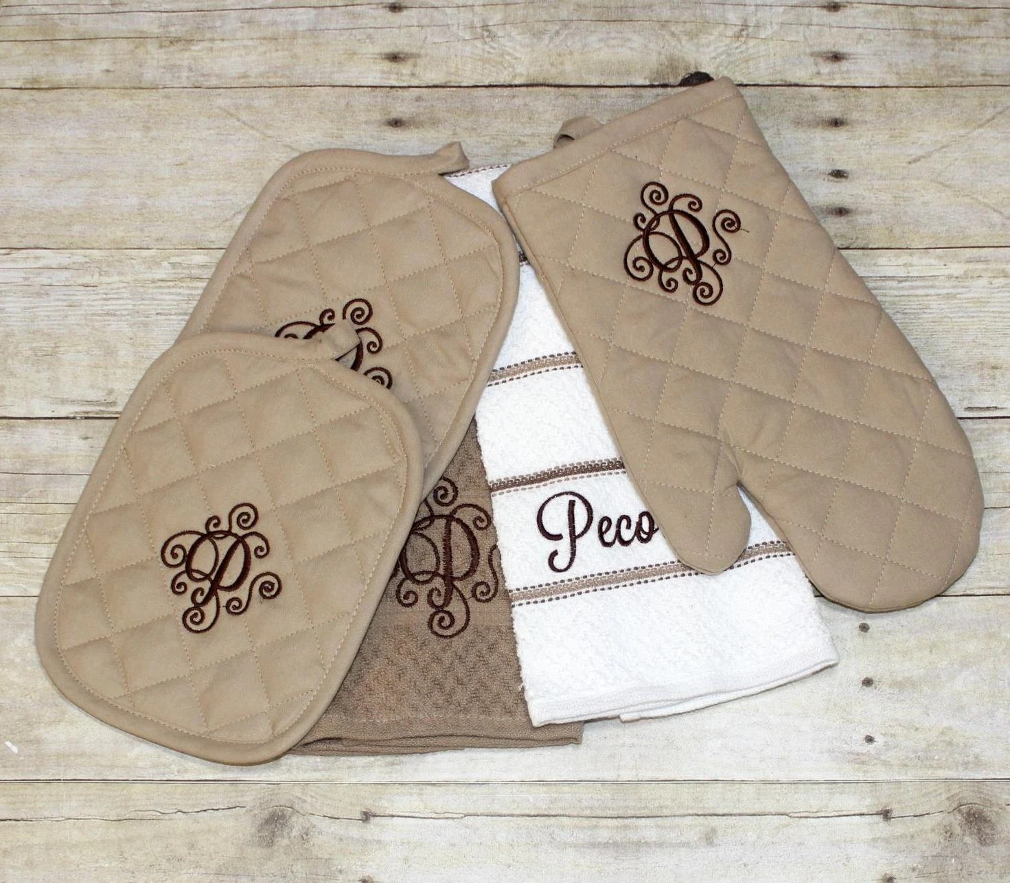 personalized kitchen towels lowes copper sink monogrammed towel set by ohsewcutellc