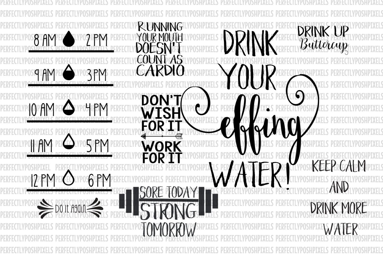 Water Bottle SVG files Water Tracker Fitness Decal Fitness svg