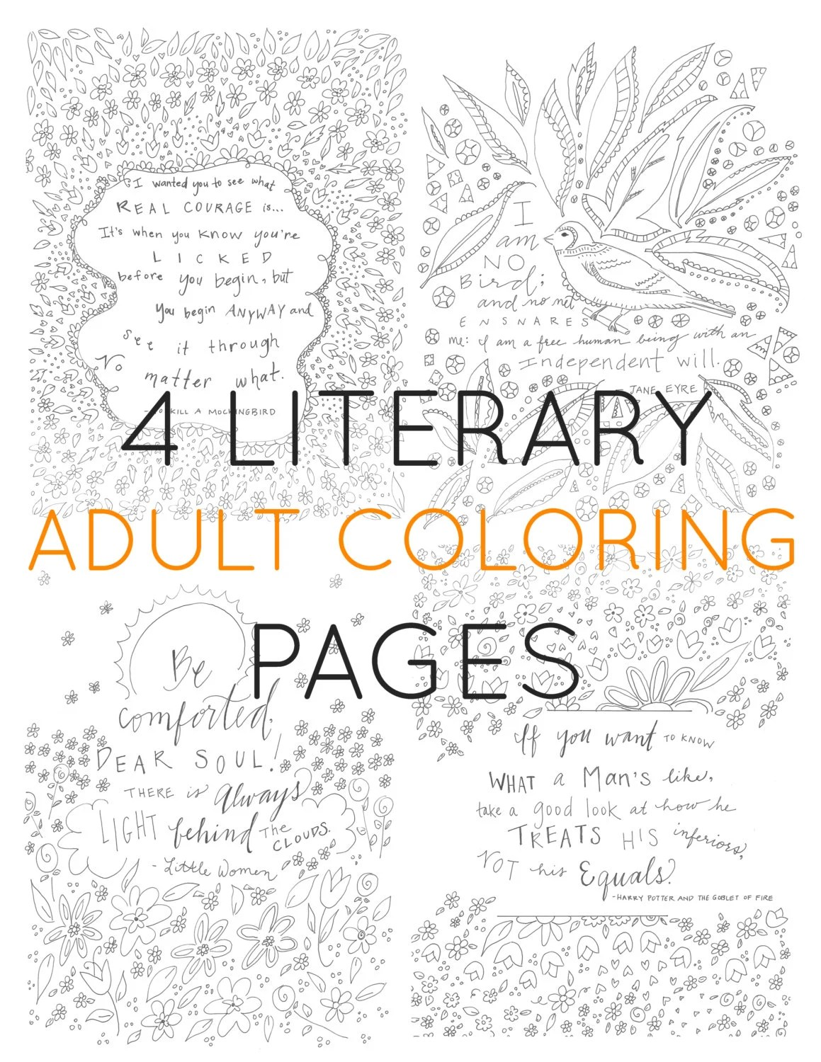 Set of 4 adult coloring pages literary coloring