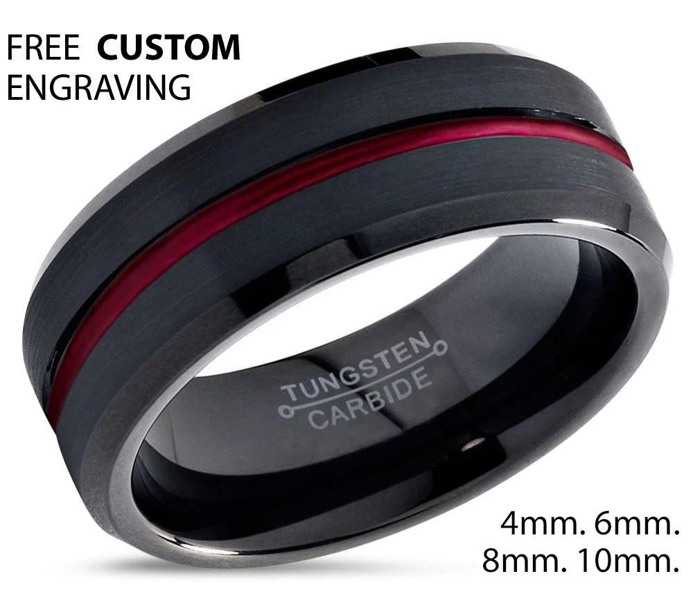 Tungsten Ring Mens Black Red Wedding Band Tungsten Ring