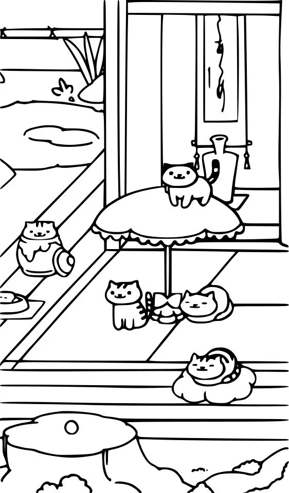 Items similar to Neko Atsume. Coloring Page. Cat Lover