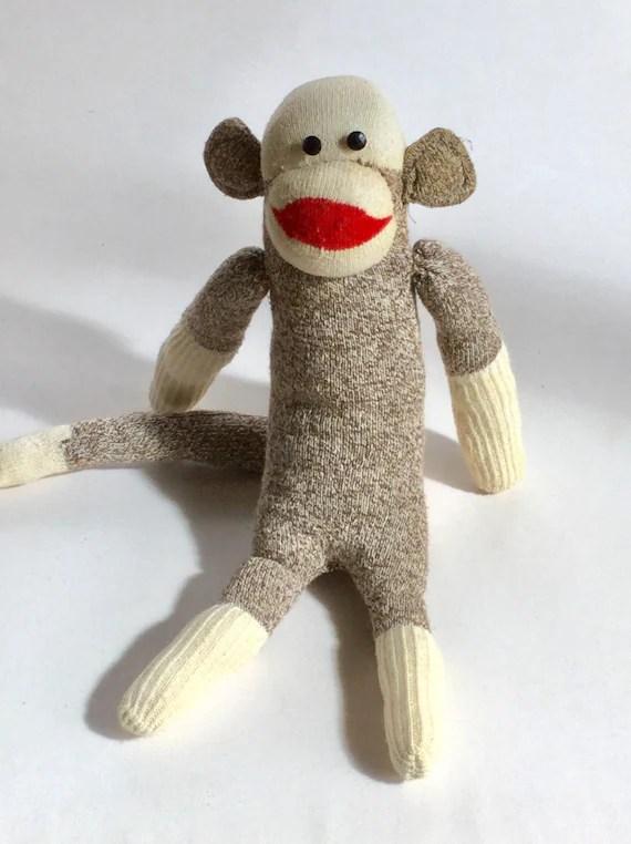 Sock Monkey Vintage 1950 Stuffed Animal Retro By GardenBarn