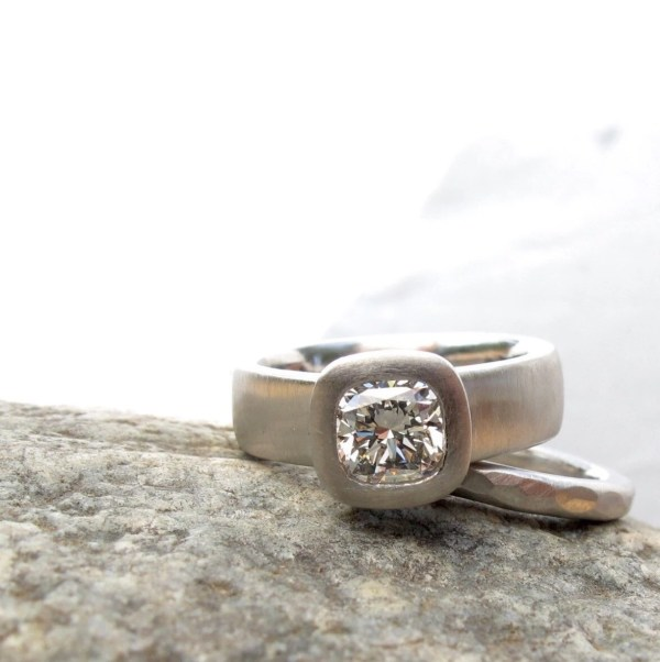 Cushion Cut Diamond Engagement Ring Wide Band With Bezel