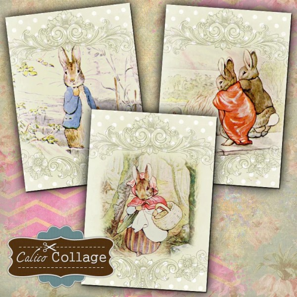 Story Book Bunnies Digital Collage Sheet Beatrix Potter 2