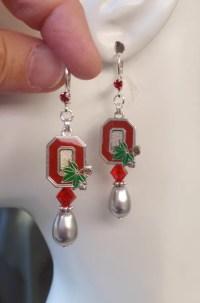 Ohio State Earrings OSU Buckeyes Jewelry Gray Pearl Scarlet