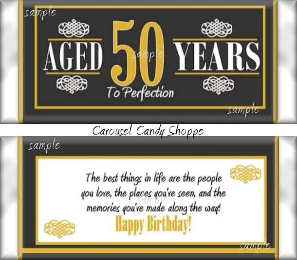 50th Birthday Party Favors Hershey's Candy Bar Wrappers