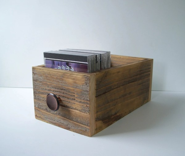 Rustic Storage Box Wood Cd Drawer Decor