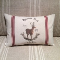 Reindeer Feed Sack Pillow Cover Vintage Reindeer Pillow
