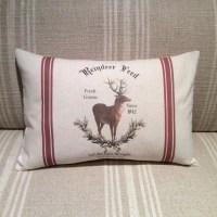 Reindeer Feed Sack Pillow Cover Vintage Reindeer Pillow