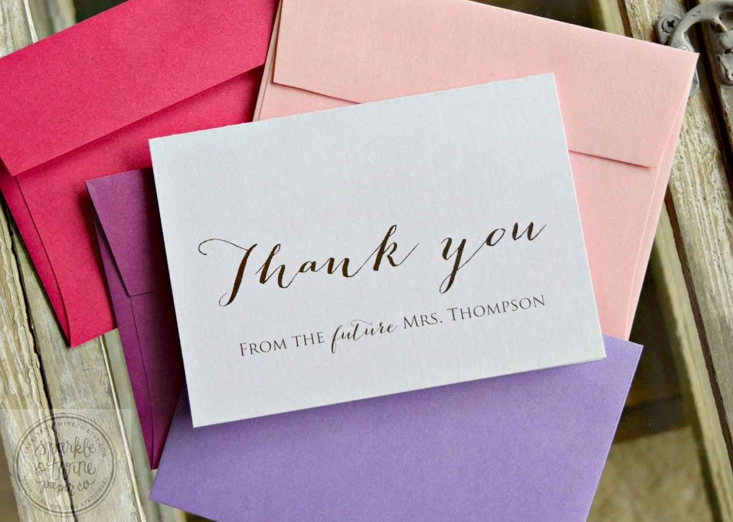 Bridal Shower Thank You Cards Future Mrs. By SparkleandTwineCo