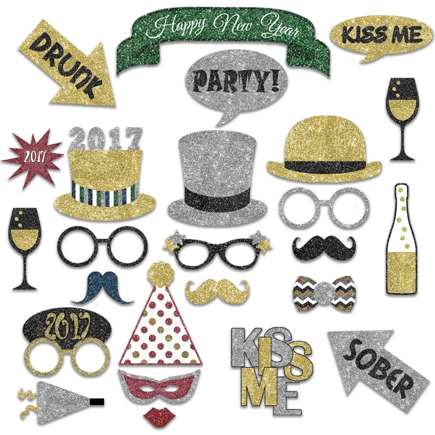 New Years Photo Booth Props New Years Eve Printable