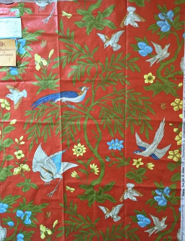 Vintage Decorator Fabric Sample Greeff Birds