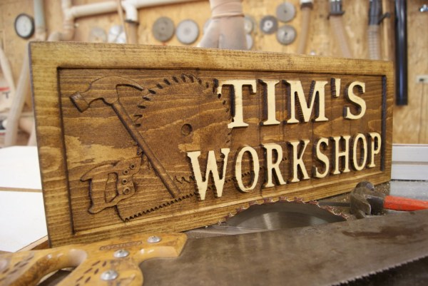 Personalized Workshop Sign 3d Lettering Wooden Carved Rustic