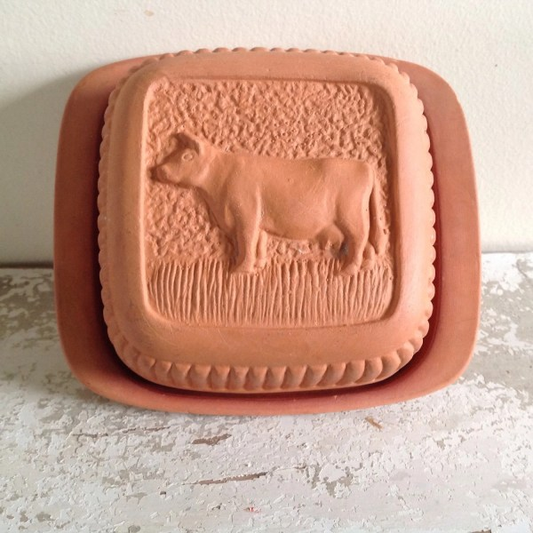 Dairy Butter Dish Square Mold Terracotta Pottery Farm