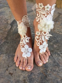 Flowers Barefoot Sandals.white Lace Wedding .beach