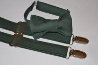 Hunter Green suspenders and bow tie. Dark green bow tie