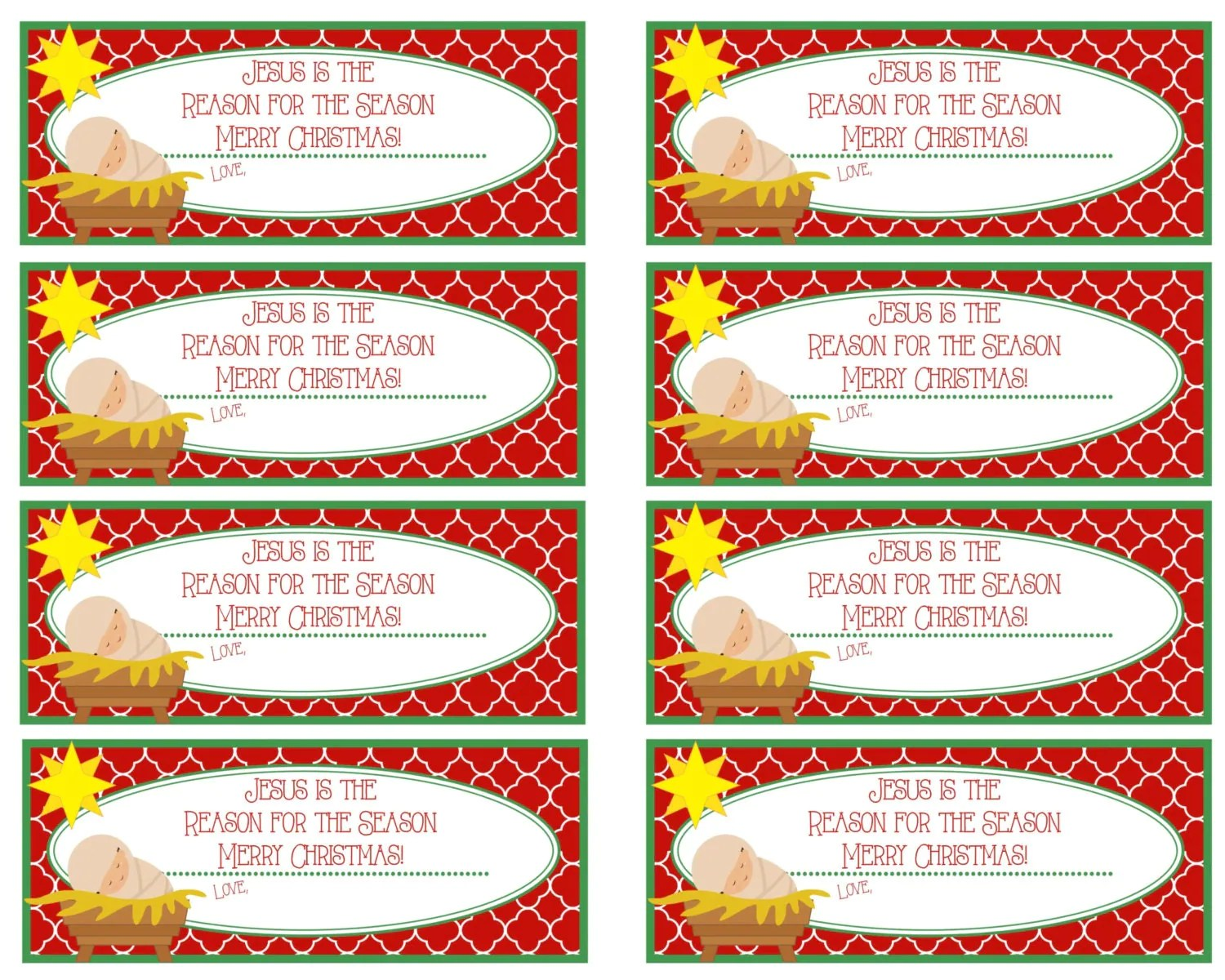 Printable Jesus Is The Reason For The Season T Tags Merry