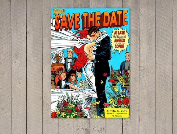 Comic Book Wedding invitation Xmen Save the Date Digital