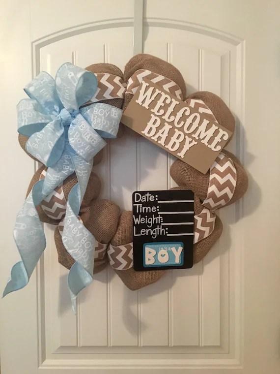 Gender Neutral Burlap Chevron Baby Wreath By