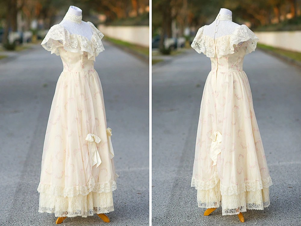 Southern Belle Wedding Dress Small XS 70s 80s Gunne By