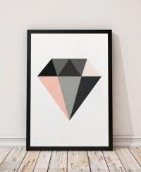 Diamond print Minimalist art Geometric print Geometric