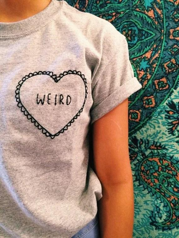 Weird Embroidered T-Shirt | Heart