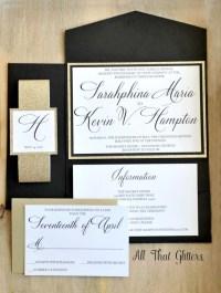Gold wedding invitations Glitter Wedding Invitation Set