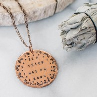 Be a voice not an echo, copper quote necklace, inspirational quote necklace, copper statement necklace, unique gift, pattern necklace