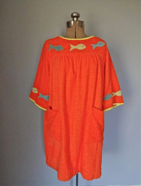 1960s Terry Cloth Cover Dress Appliqu Fish Pattern Novelty