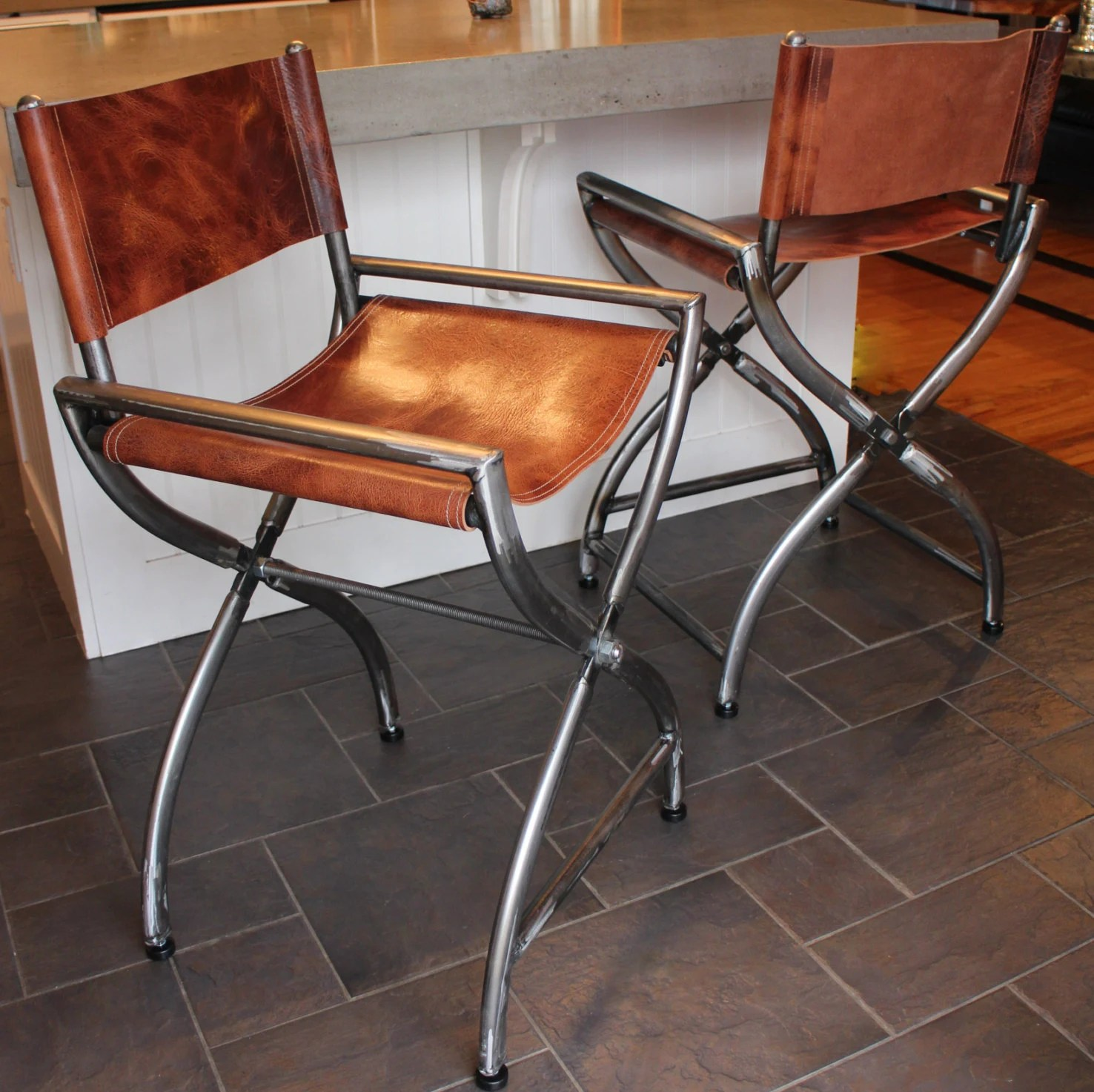 leather directors chair folding chairs menards wrapped in thick buffalo