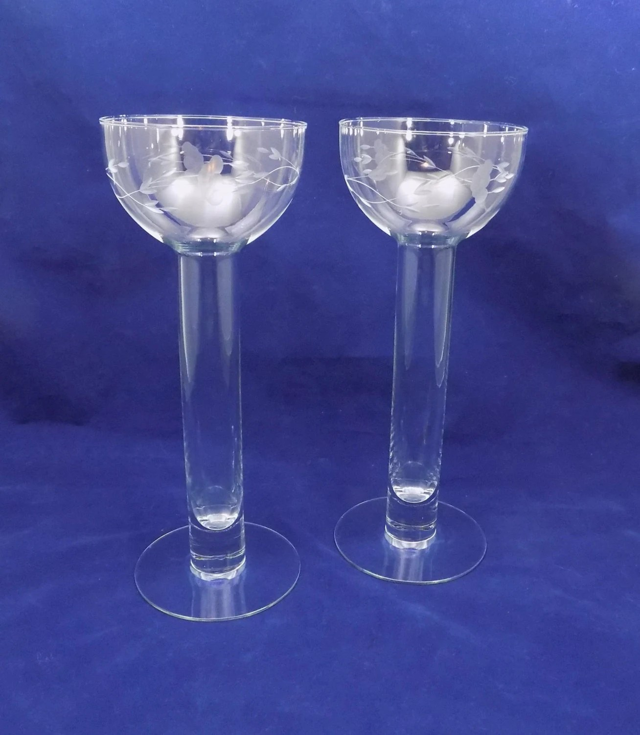 Princess House Crystal Candle Holders or Bud Vases Tall