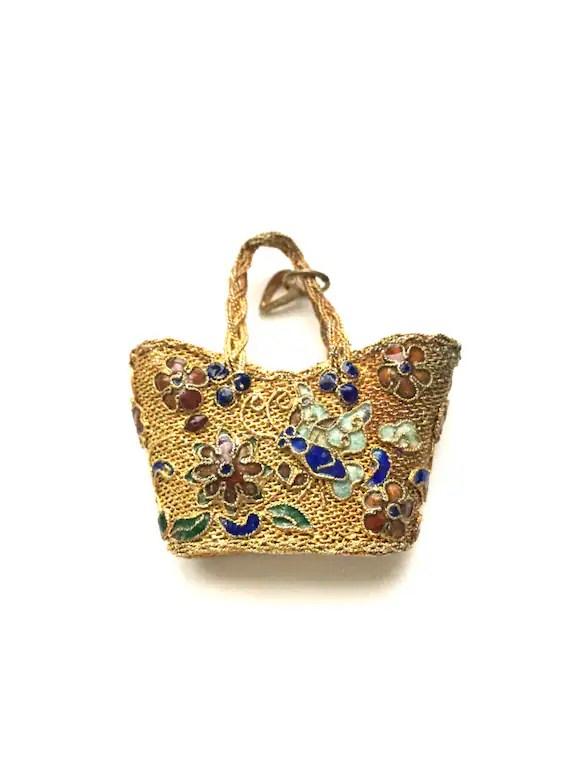 Vintage Gold Mesh Purse Pendant with Cloisonne Flower Design
