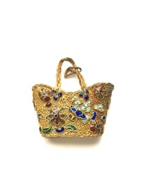 Vintage Gold Mesh Purse Pendant with Cloisonne Flower Design