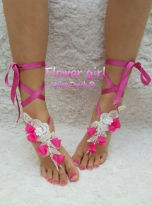 Baby Shoes White Barefoot Sandals With Uniontouch
