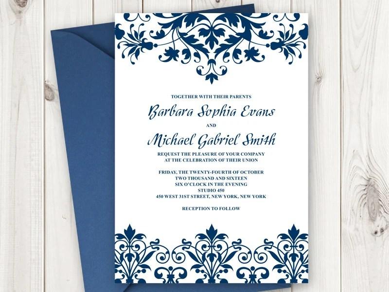Elegant Wedding Invitation Printable Template