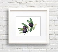 Olive Branch Art Print Wall Decor Watercolor Painting